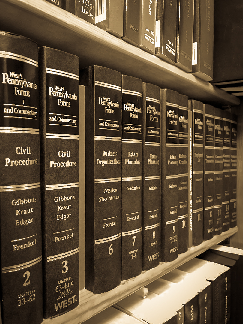 A photo of law books on shelf