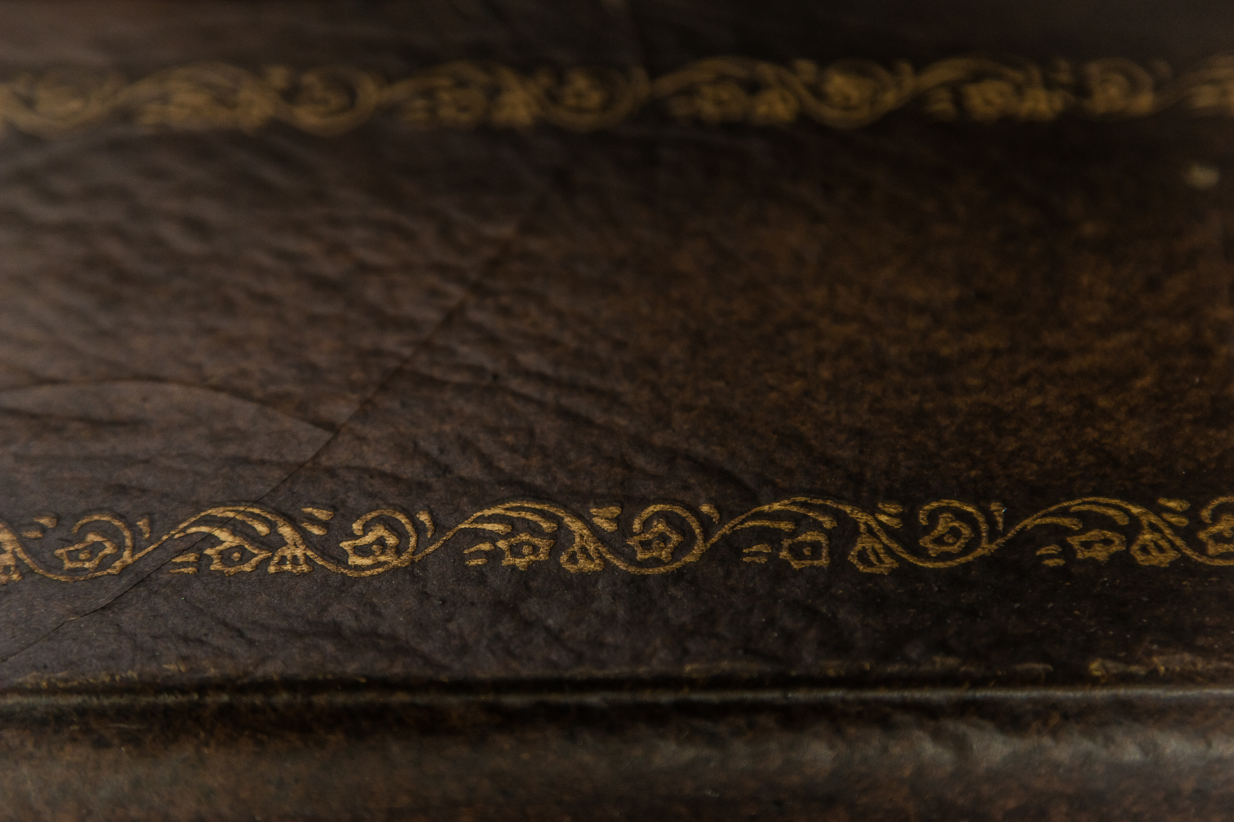A photo of leather binding