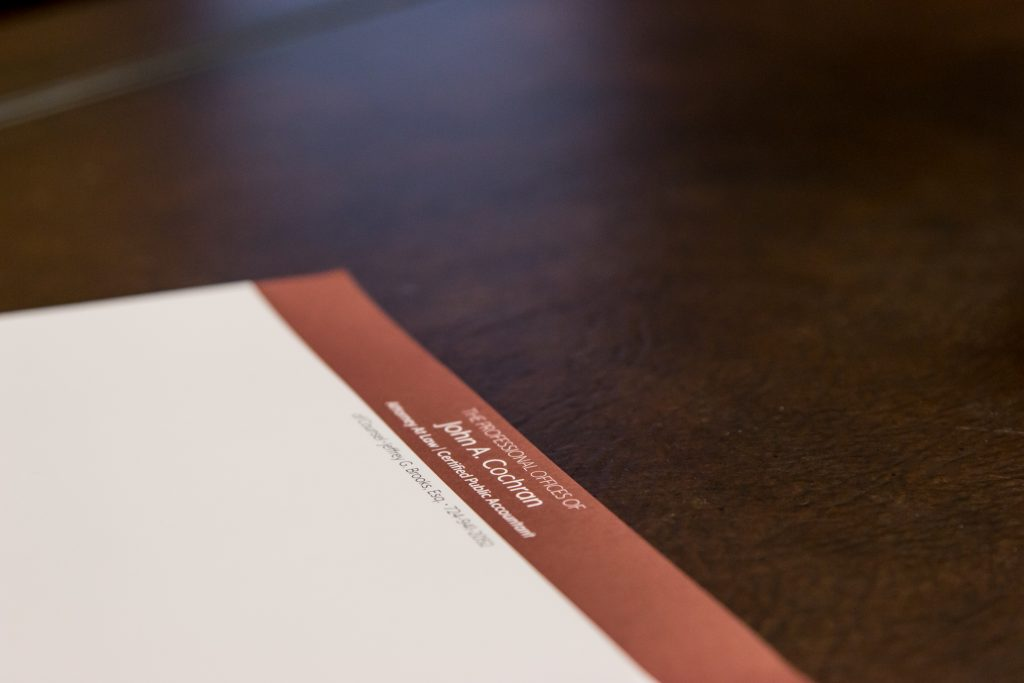 A photo of letterhead