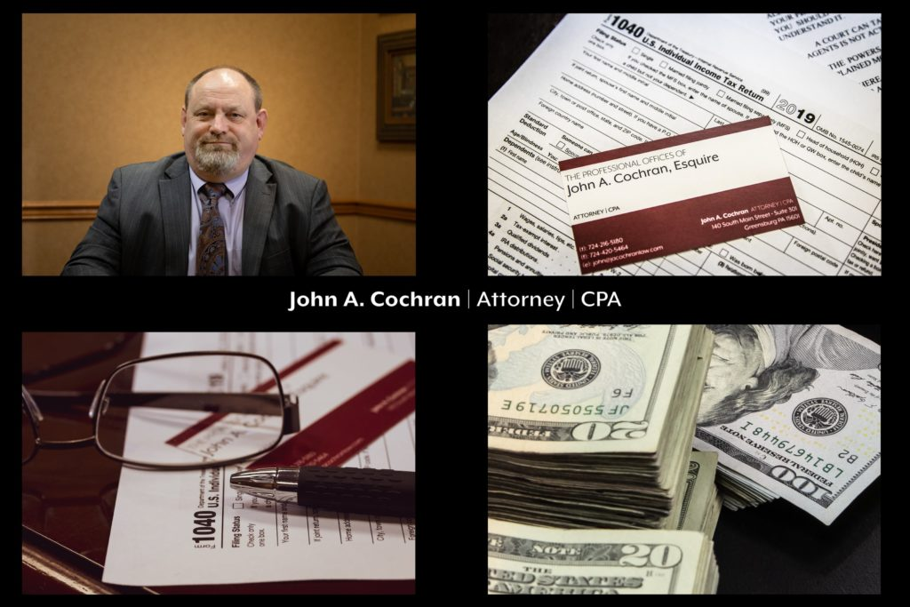 a grid of with photos of taxes, money and John Cochran, who provides business tax preparation 101: 5 tips to make filing easier