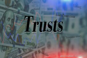 A photo of money and phrases associated with trust funds